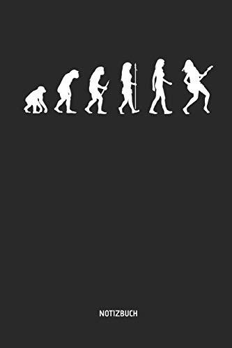Notizbuch: Evolution der Frau: Elektrische Gitarre - Liniertes Gitarren Notizbuch & Schreibheft. Tolle Geschenk Idee für Gitarristen, Gitarren Musik Liebhaber, Gitarren Lehrer und Schüler.