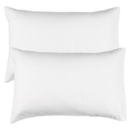 Par de Riva Paoletti ama de casa Color Blanco Fundas de Almohada, 100% de algodón, 48x 74cm
