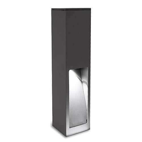 Wegeleuchte Aluminium grau 45 cm | einseitiger Lichtaustritt + E27 + IP43 + robust + winterfest + dimmbar + indirekte Beleuchtung | Gartenbeleuchtung | Außenlampe | Standleuchte | Außenleuchte -