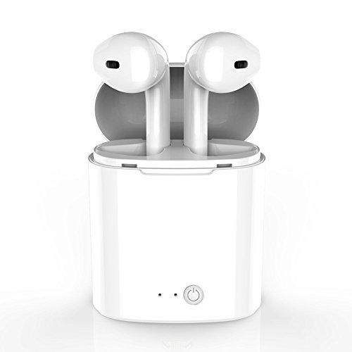 Auriculares inalámbricos Bluetooth V4.2 sonido estéreo interno y micrófono incorporado con estuche de carga para iPhone Samsung y teléfonos Android Blanco