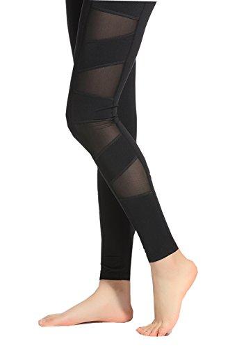 Lotus Instyle Frauen Yoga Leggings Strumpfhose Sport Hose Workout Hose mit Mesh Black7