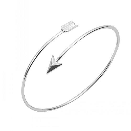 Good.Designs Damen Oberarmreif, Edler Pfeil - Armreif für den Oberarm, plattierter Kupferlegierung in 18k-Gold oder Silber (Silber)