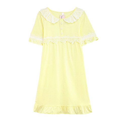 Zhhlaixing Womens Comfortable Cotton Sleep Skirt Pajama Summer Short sleeves Sleepwear Yellow