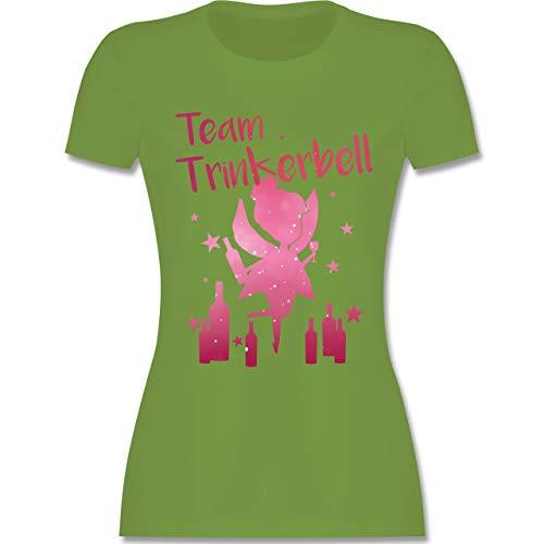 JGA Junggesellinnenabschied - Team Trinkerbell mit Flaschen - L - Hellgrün - L191 - Damen Tshirt und Frauen T-Shirt - Flasche Hellgrün