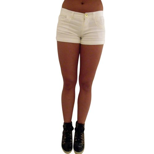 Damen Sexy Denim Hotpants Strass Shorts Hose Damen Bling Shorts Größe 8-14 Weiß