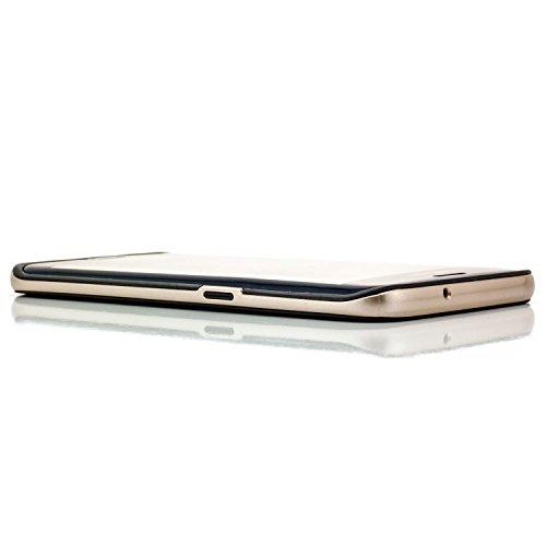 Saxonia Samsung Galaxy S7 Edge Hülle Silikon Case Cover [Ultra Hybrid] TPU Slim Silikonhülle Backcover Schale + Rahmen mit extra Kantenschutz Schwarz-Hellblau Schwarz-Gold