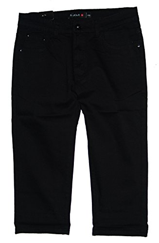X-Max Damen 3/4 Stretch Capri Jeans Hose, schwarz X-915-1, Gr.46 W36 (= Hersteller 48)