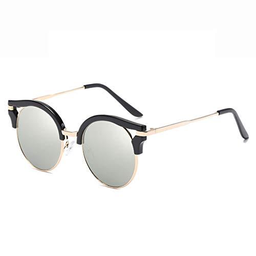 DX Retro Mode Farblinse Tourismus Shopping Urlaub im Freien UV-Schutz Brillen Polarisierte Sonnenbrillen (Farbe: Schwarzer Rahmen Silberne Linse)