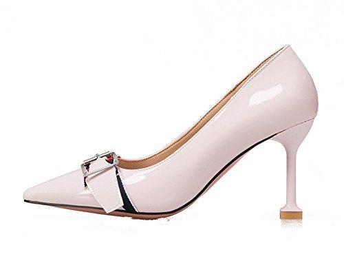 VogueZone009 Donna Tirare Tacco Alto Pelle Di Maiale Puro Scarpe A Punta Ballerine Rosa
