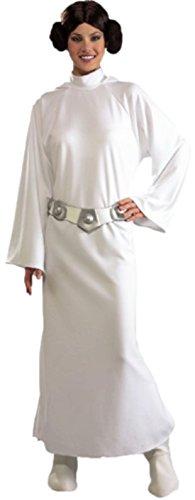 Halloweenia - Damen Princess Leia Star wars Kostüm Kapuzen- Kleid, Gürtel , Perücke und Boot Tops, 36-40, Weiß (Star Wars Ahsoka Kostüme Für Erwachsene)