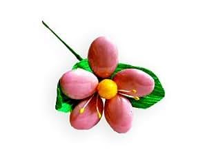 Fleur de dragées forme marguerite PM Rose (lot de 5) dragées chocolat 70% de cacao pour mariage baptême communion