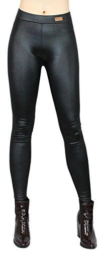 dy_mode Herbst/Winter Leggings Damen/Thermo Leggings Kunstleder/Thermohose Kunstleder-Optik - Gr. 34 bis 40 - WL100 (38/M, WL100-Schwarz)