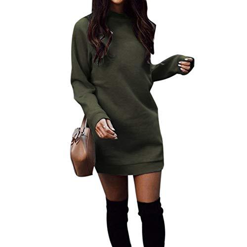 AchidistviQ Damen Mini-Kleid, langärmlig, Rundhalsausschnitt, einfarbig, dick, einfarbig, Polyester, Armee-grün, M