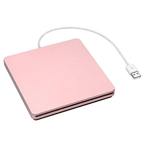 BigBig Style Externer USB 2.0-Steckplatz DVD-Laufwerk VCD CD-Brenner Brenner-Player für Mac OS/WindowsME / 2000 / XP/Vista / 7 (Color : Pink) (Rosa Laptop-computer Mit Dvd)