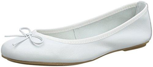 Tamaris Damen 22165 Geschlossene Ballerinas, Weiß (White Leather), 39 EU
