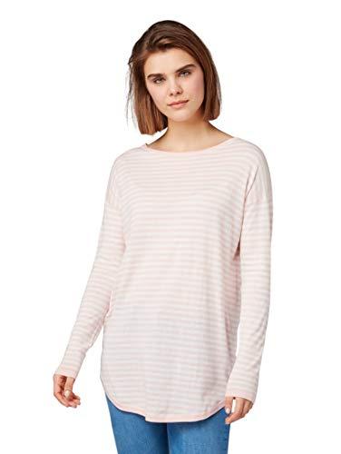 TOM TAILOR Denim Pullover & Strickjacken Länger Geschnittener Pullover Blush pink Stripe, L -