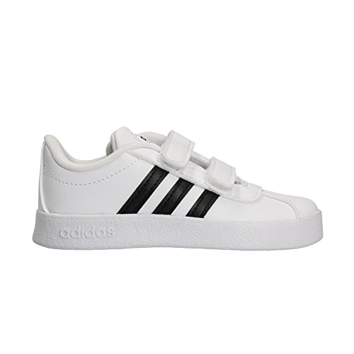 Adidas vl court 2.0 cmf i, scarpe da ginnastica basse unisex-bimbi, bianco cblack/ftwwht 000, 27 eu