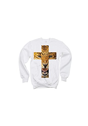 Animal cross - Sweat col rond angry leopard Blanc