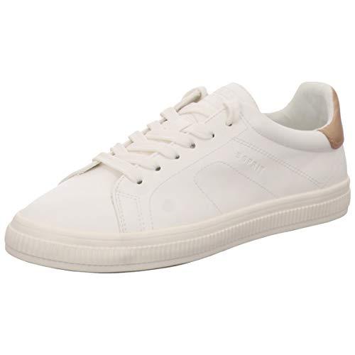ESPRIT 019EK1W025-001 Sonetta Lu Damen Sneaker aus Lederimitat mit Textilfutter, Groesse 40, weiß