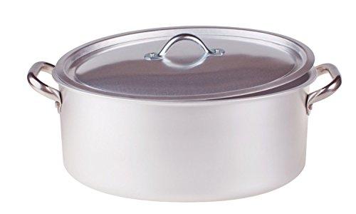 Pentole Agnelli Casserole Ovale avec Couvercle, en Aluminium, avec 2anses en Acier Inoxydable, Argent 30 x 19 x 12cm Argent