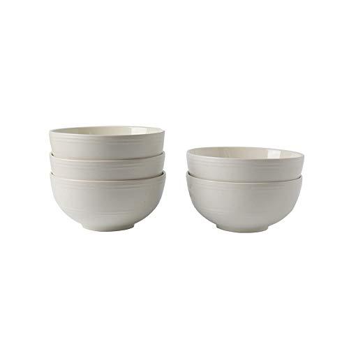 Bol Bol de vaisselle en céramique à émail japonais créatif japonais en forme de bol, ensemble de 5 bols à nouilles simples - 3 tailles, 2 couleurs (Couleur : Blanc, taille : 14.7 * 6cm)