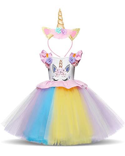 NNJXD Mädchen Einhorn Halloween Weihnachten Cosplay verkleiden sich Geburtstag Party Phantasie Blume Prinzessin Rainbow Kleid + Einhorn Headwear Größe (80) 7-12 Monate Rosa