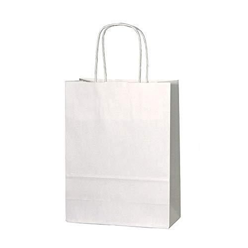 EXQULEG 10 Papiertüten Papiertragetaschen Kraftpapiertüten Papierpartytüten mit Griffen für Partys, Hochzeiten, feiern, Geschenktüten und Süßigkeiten (Weiß, 21X17X27cm)