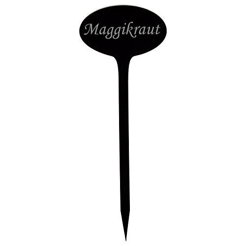 Verre acrylique pflanz Panneaux ovale noir – Jardin/connecteur, herbes, panneaux, plante – Choix + nom au choix Maggikraut