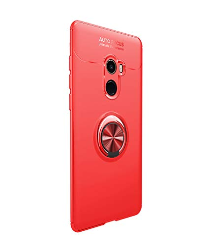 Funda Xiaomi Mi Mix 2 Carcasa Delgada Silicona Suave Negro TPU Case Anti-Arañazos, con Anillo Grip Kickstand y Soporte la función de Montaje Teléfono Case para Mi Mix 2 (Xiaomi Mi Mix 2, Rojo)