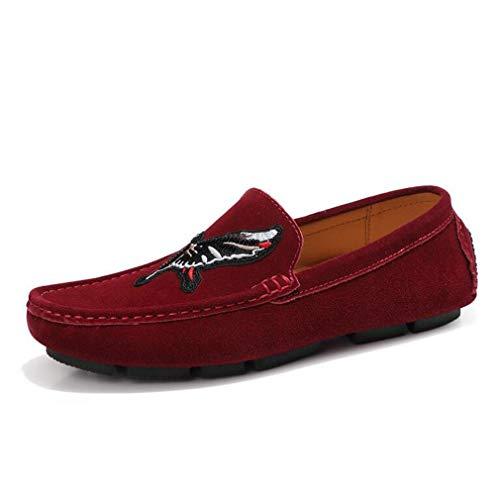 Hy Chaussures Homme, Cuir Printemps/Automne Nouveaux Mocassins Plats Doux Semelle Confort Chaussures de Conduite Mocassins et Slip-Ons Bureau et carrière,c,41