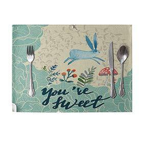 Skgardeniamy 42cm x 32cm nordic conigli fiori lino stoviglie mat cafe hotel bambini invito festa compleanno festa tovaglietta rettangolare per casa ristorante piano tavolo 7#