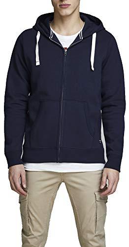 JACK & JONES Herren JJESPACE Melange Sweat Zip Hood NOOS Sweatjacke, Blau (Navy Blazer Detail: Reg Fit), Large