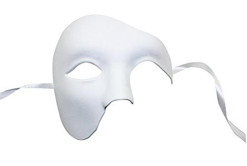 KEFAN Herren Maske Masquerade Maske Phantom der Oper Half Face Maske (Weiß)