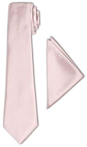 CRIXUS Krawatte klassisch Puder Rosa Satin-Krawatte mit oder ohne Einstecktuch ( Tuch Maß 26 x 26...