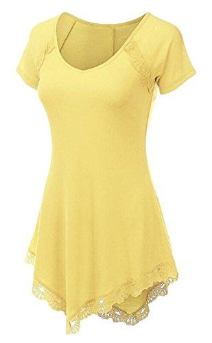 SMITHROAD Damen Tunika mit Asymmetrischem Saum Spitzensaum Longshirt Kurzarm V-Ausschnitt T Shirt Lang Oberteil S-2XL Gelb
