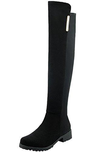 Knie Hohe Cowboy-stiefel (Knie Hohe Stiefel Damen Elastisch Lycra Casual Herbst Winter Bequem Warme Flach Kunstleder Lange Stiefel Von BIGTREE Schwarz 39 EU)