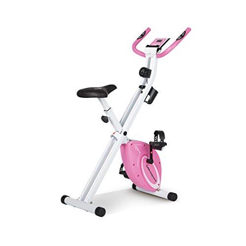 Ultrasport F-Bike Design, Fahrradtrainer, Heimtrainer, faltbares Fitnessbike mit Gelsattel, Flaschenhalter, LCD-Display, Handpulssensoren, kompakt und klappbar, belastbar bis 110 kg, Pink