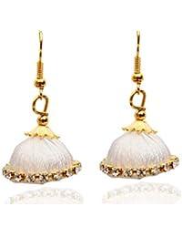 Jewel18 Gold Plated Thread Earrings | Hot Selling Designer Small Mini Silk Thread Jhumki Earring | Material Zink Alloy Earrings