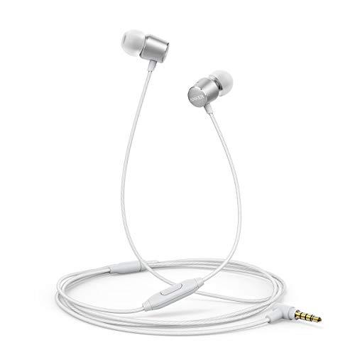 Anker Kopfhörer SoundBuds Verve in-Ear Kopfhörer Kabelgebunden mit Mic/Bass/physikalischer Geräuschreduzierung/3,5mm Klinkenbuchse für iPhone/iPad/Samsung Smartphones, Tablets, PC usw.(Silber)