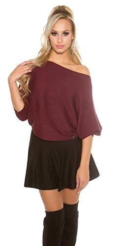 Koucla Damen kurzer Feinstrick Pullover Sweater mit 3/4 langen Fledermaus Ärmeln | Ripp Pulli Cape Poncho | weinrot 34 36 38 (Ärmel Pullover Gerippte)