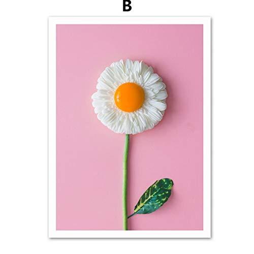 zgmtj Gohipang Blume Wassermelone Nordic Poster Leinwand Malerei Wandkunst Poster Und Drucke Wandbilder Für Wohnzimmer Küche Decor (Sport Auto Ausstecher)
