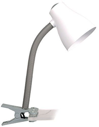 Eurosell E27 Design Schreibtischlampe Tischleuchte Schreibtisch Bett Schlafzimmer Zusatz Lampe Licht Leuchte Clip On klemmbar Klemme Klemmleuchte Leselampe flexibel Schwanenhals silber