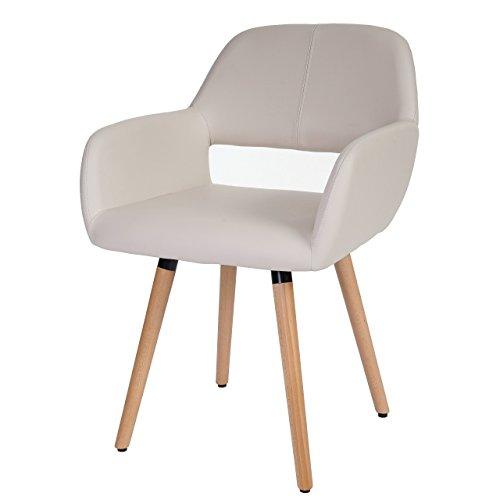 Mendler Esszimmerstuhl HWC-A50 II, Stuhl Lehnstuhl, Retro 50er Jahre Design ~ Kunstleder, Creme, helle Beine