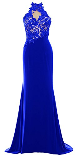 MACloth Women Mermaid Halter Lace Long Formal Evening Dress Wedding Party Gown Royal Blue