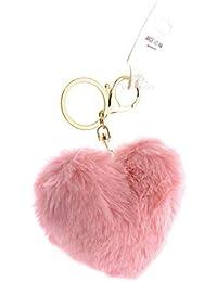 9984859eb73b DORRON Pom Pom Cute Stylish Love Heart Faux Fur Ball Key Chains   Key Rings  for Car Keys Ladies Bags Purses…