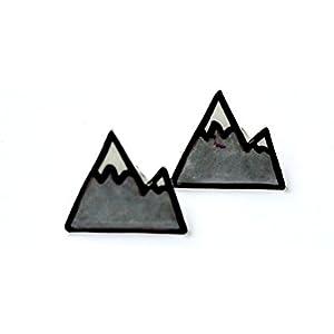 Handbemalte Schrumpf Kunststoff Ohrringe Schwarze Berge