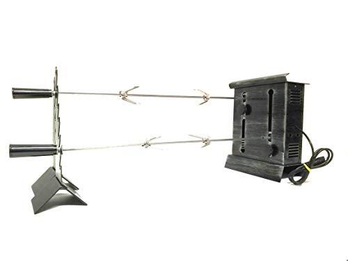 GIRARROSTO ELETTRICO 2 Spiedi Inox Regolabili 60 Per Camino e Barbecue Mod.Patrizia Portata Kg 10