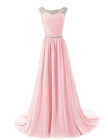 CoutureBridal® Robe Maxi de soirée bal en chiffon perlé sans Manches Rose EU46