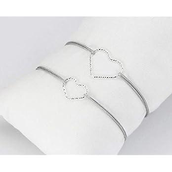 Mutter-Tochter Armband Set Herz 925 Silber Hellgrau- personalisierbar