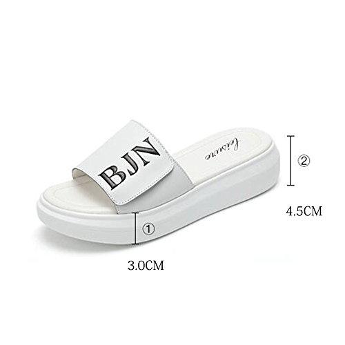 Estate Sandali 4.5cm I pistoni freddi di modo femminili di estate portano i sandali piani degli alti pattini freddi dell'allievo (nero / bianco) Colore / formato facoltativo Bianca